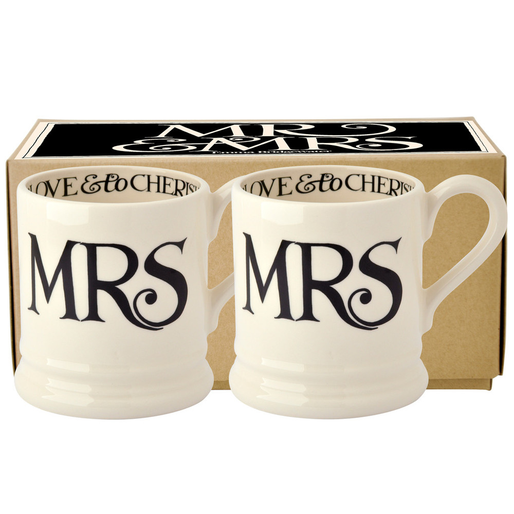 Black Toast 'Mrs & Mrs' Set of 2 1/2 Pint Mugs Boxed