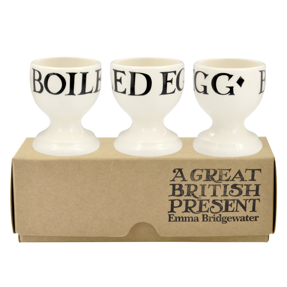 Black Toast Set of 3 Egg Cups Boxed