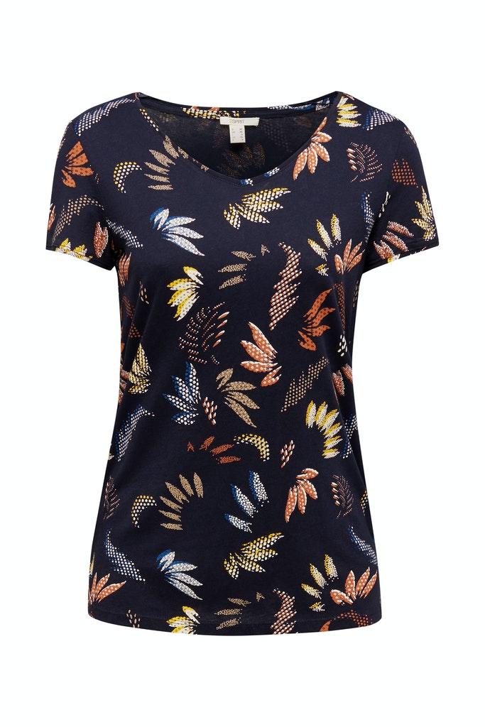 Esprit Leaf Print T-Shirt Navy