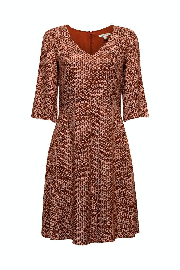LENZING™ ECOVERO™ printed dress Brown