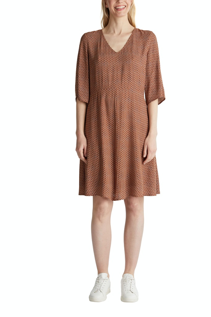 LENZING™ ECOVERO™ printed dress Brown