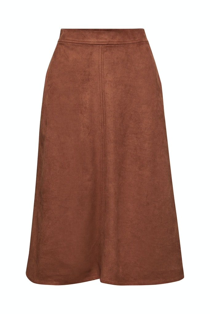 Faux suede midi skirt Brown