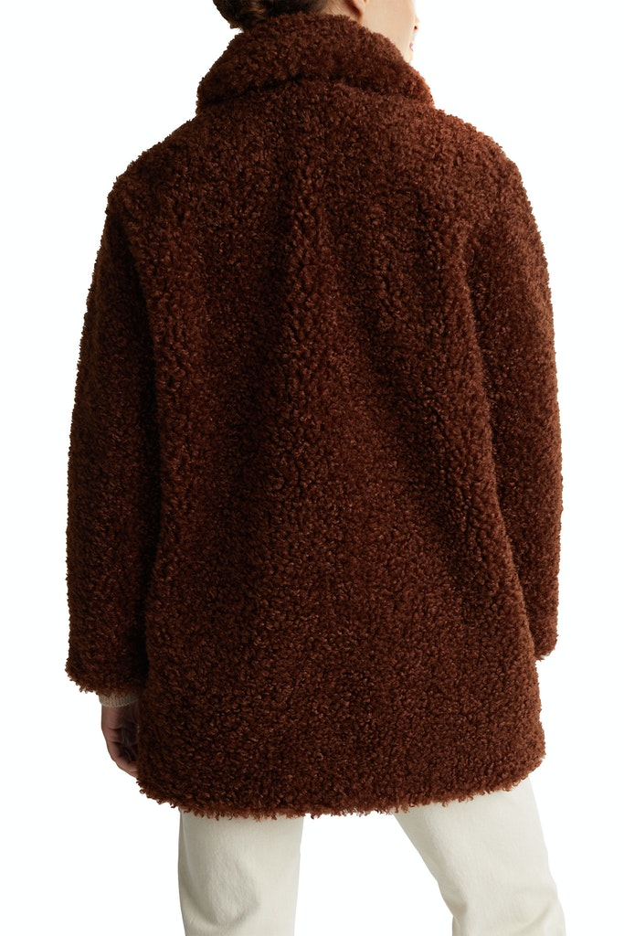 Faux fur fabric STRAIGHT FIT Brown