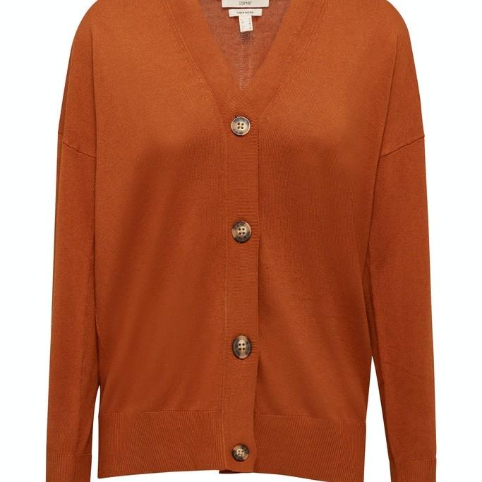Linen blend: fine knit cardigan Brown