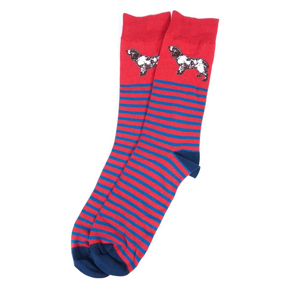 Barbour Dog Stripe Sock  RED/MEDIUM