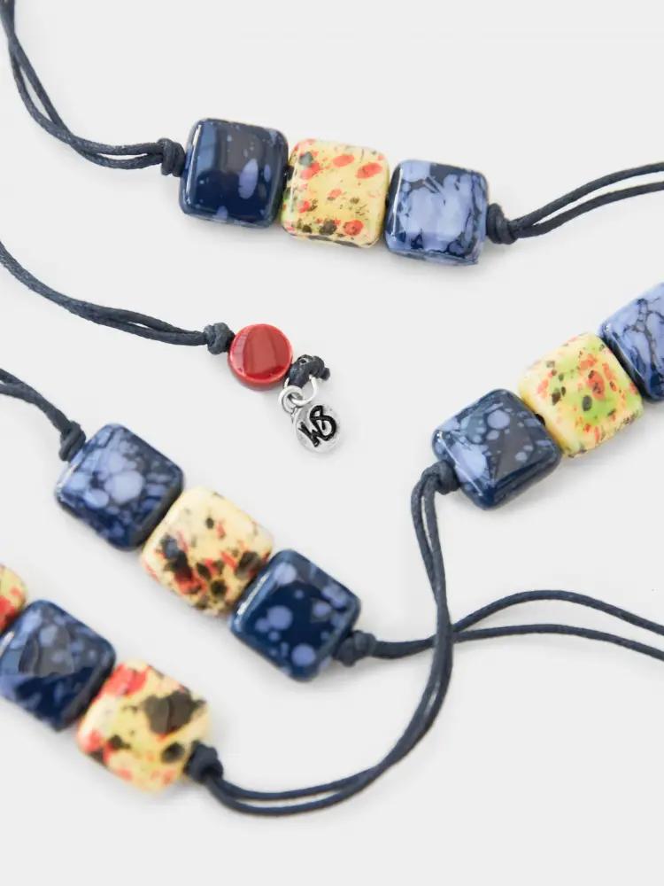 Tilly Trio Ceramic Necklace Blue