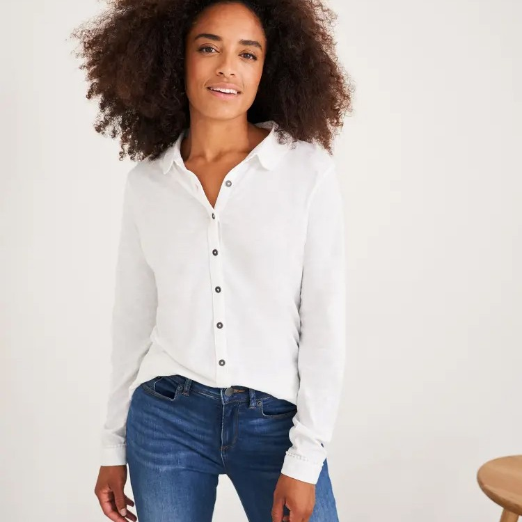 Pom Trim Jersey Shirt White