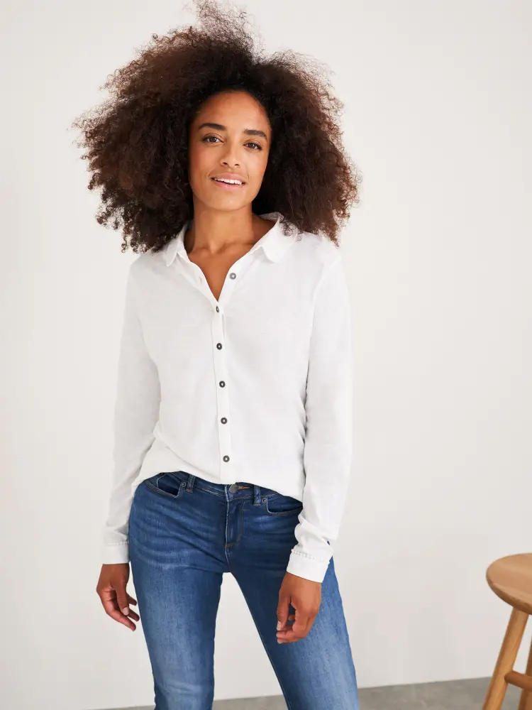 Pom Trim Jersey Shirt White