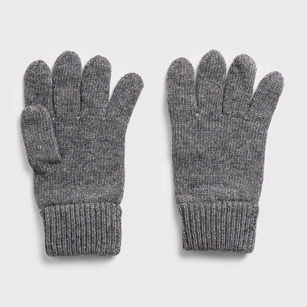 Gant Knitted Wool Gloves Grey