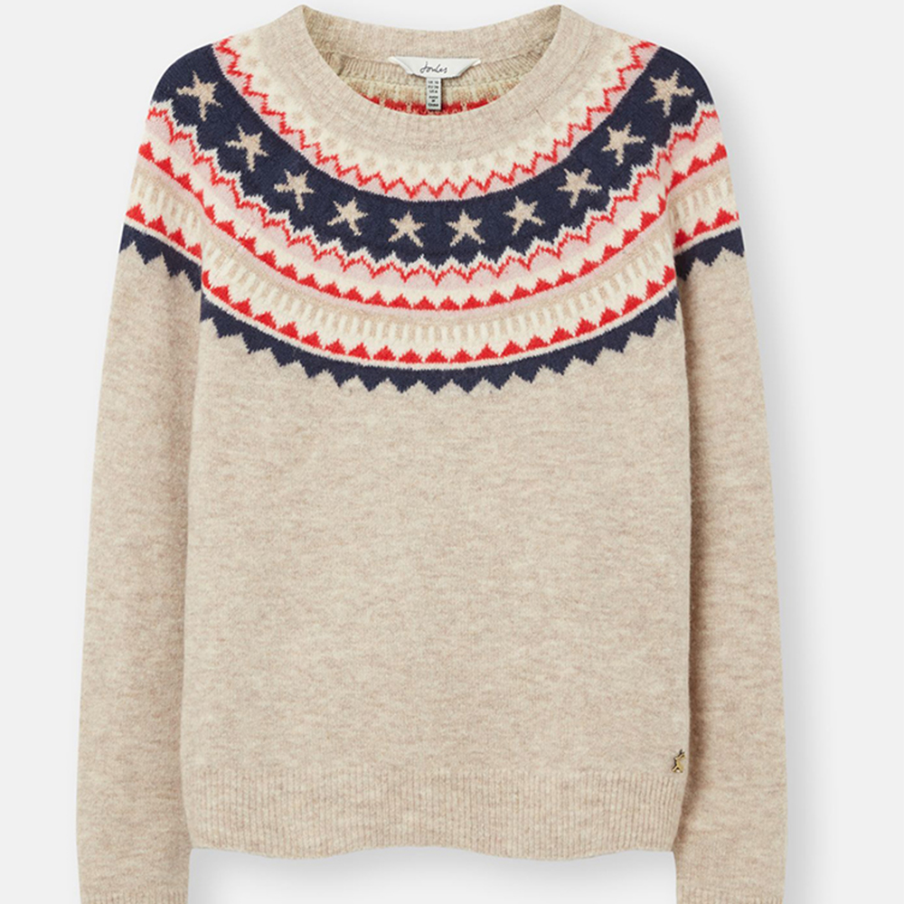 Joules Women Janelle Knitted Jumper in Oat Fairisle Cream