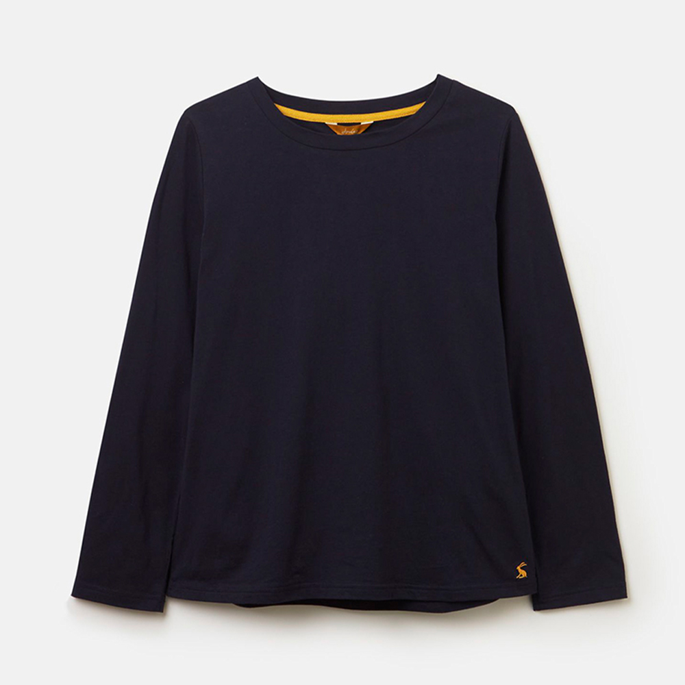 Selma Solid Long Sleeve Jersey Top Navy