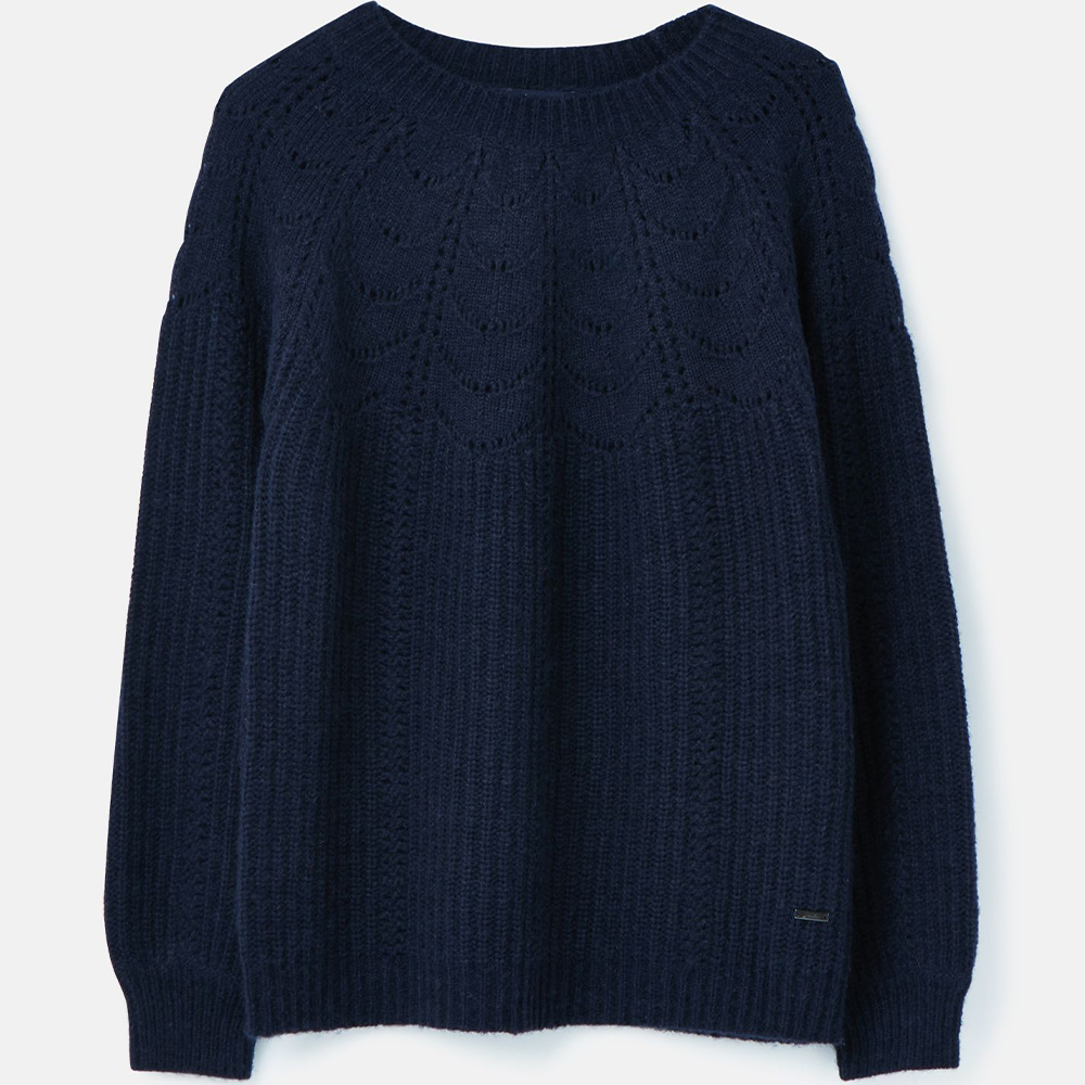 Jenna Knitted Pointelle Stitch Jumper Navy