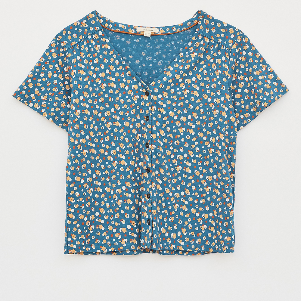 Button Organic Textured Top Blue