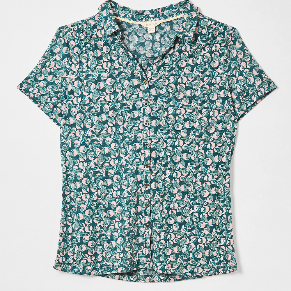 Linen Collared Jersey Shirt Teal