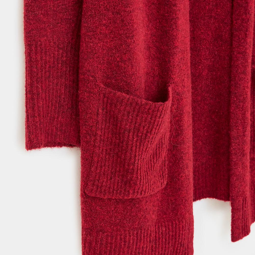Cosy Rib Longline Cardigan Red