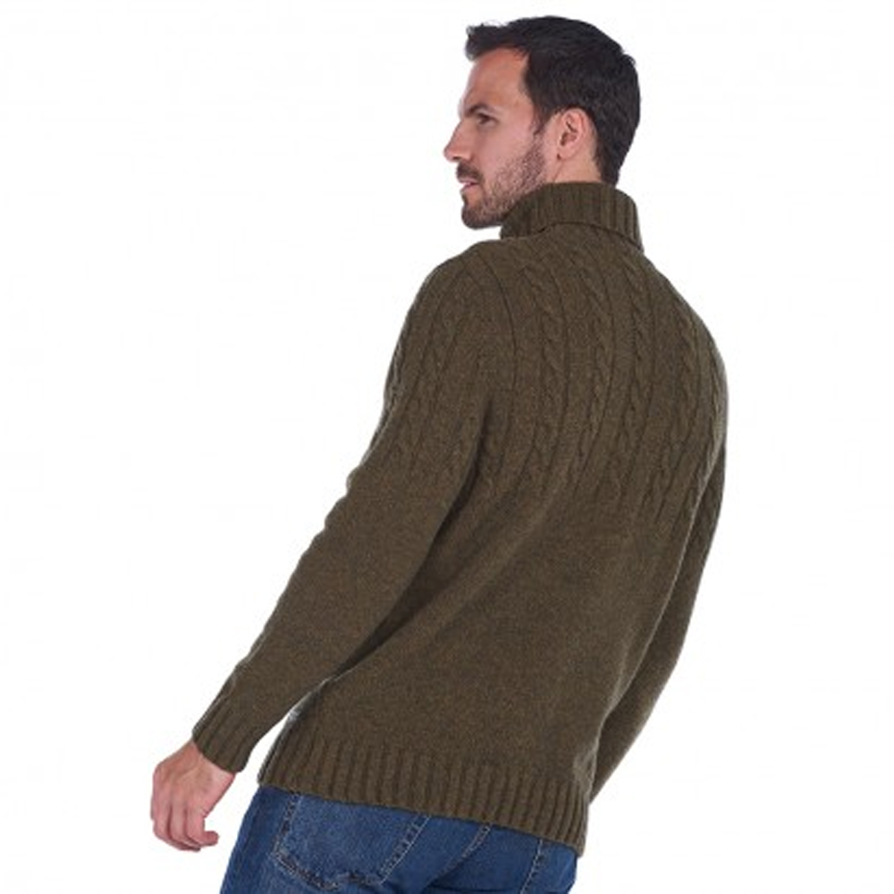 Barbour Duffle Cable Knit Sweater Willow Green