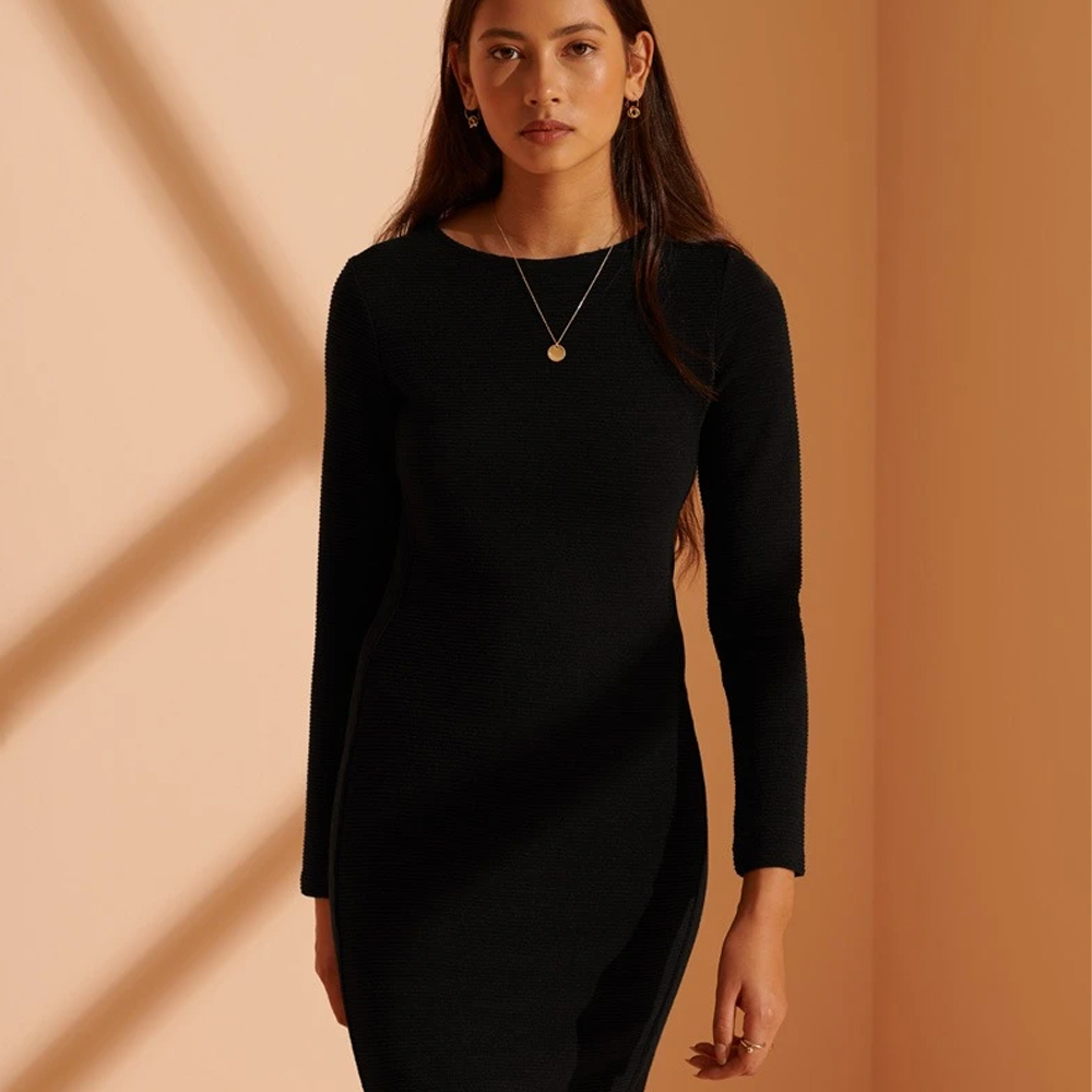 Ottoman Bodycon Dress - Black