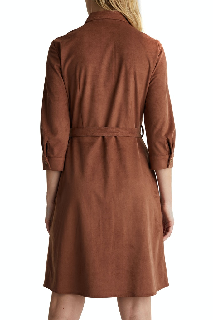 Esprit Shirt Dress In Faux Suede
