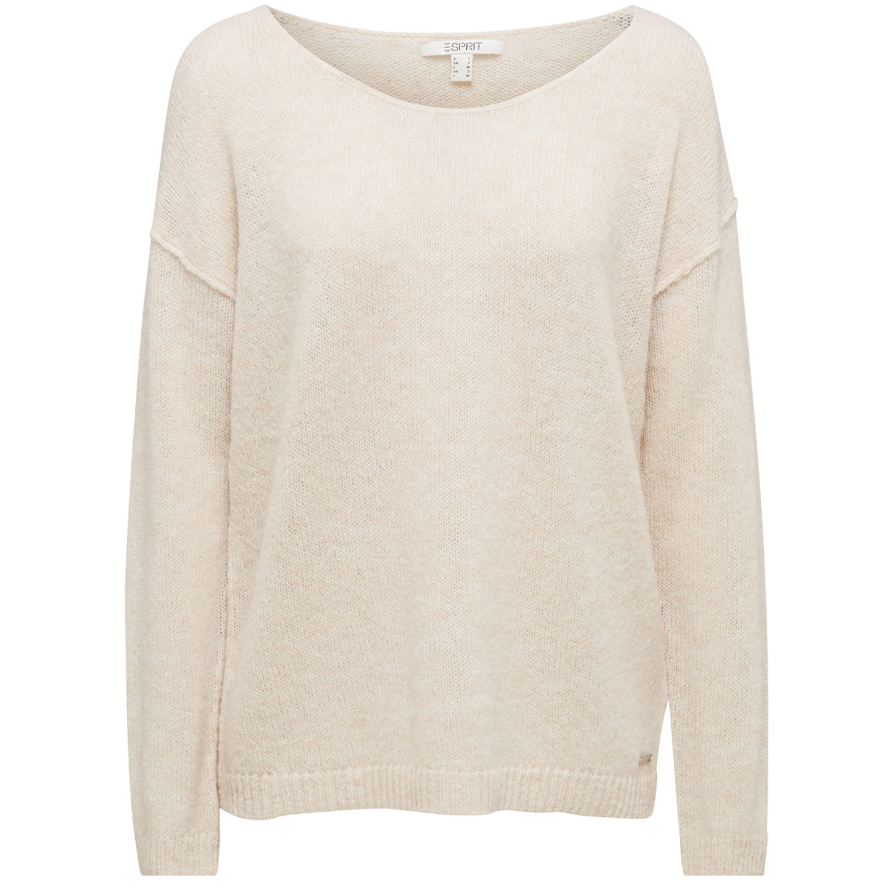Esprit Jumper With A Round Neckline, With Wool & Alpaca