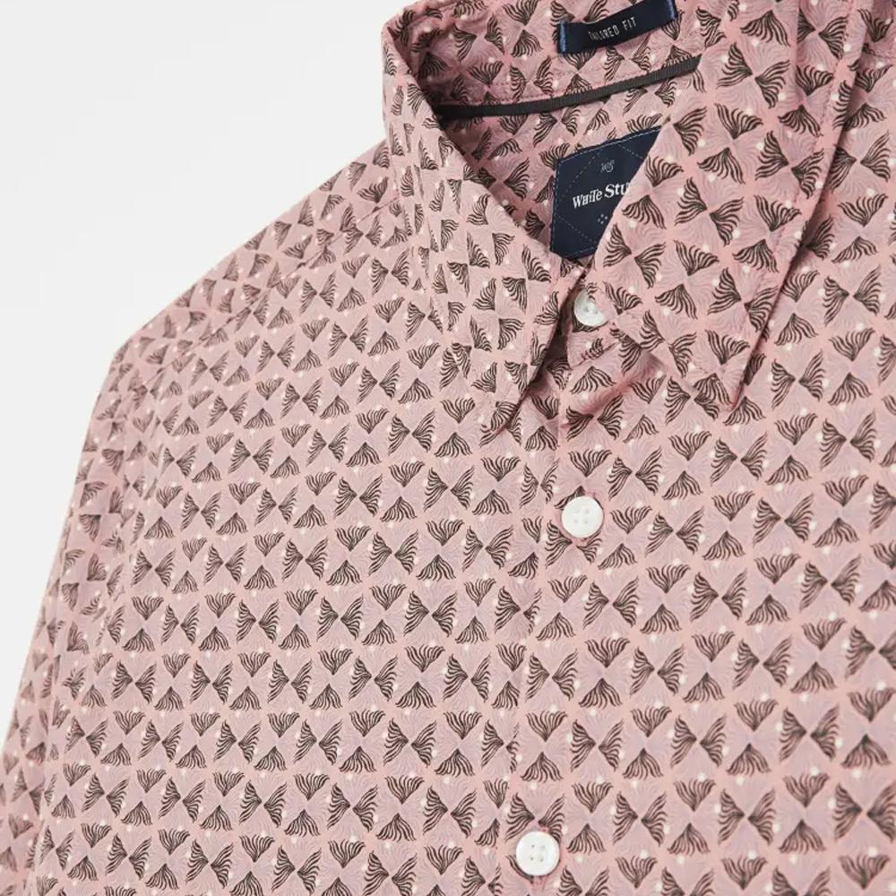 Abstract Fern Print Shirt  Light Pink/LARGE