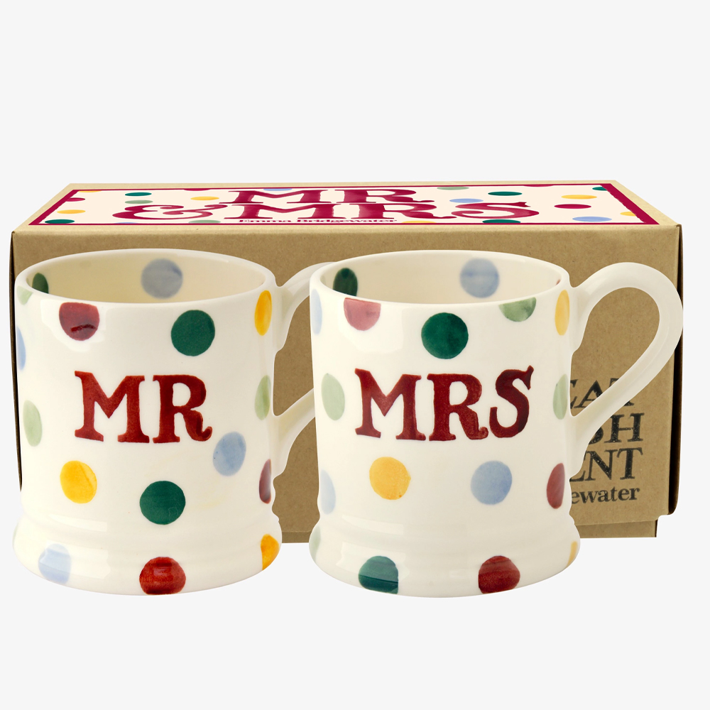 Emma Bridgewater Polka Dot 'Mr & Mrs' Set of 2 1/2 Pint Mugs Boxed