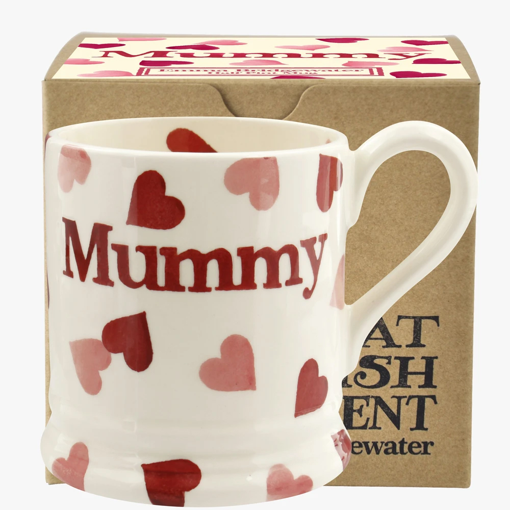 Emma Bridgewater Pink Hearts 'Mummy' 1/2 Pint Mug Boxed