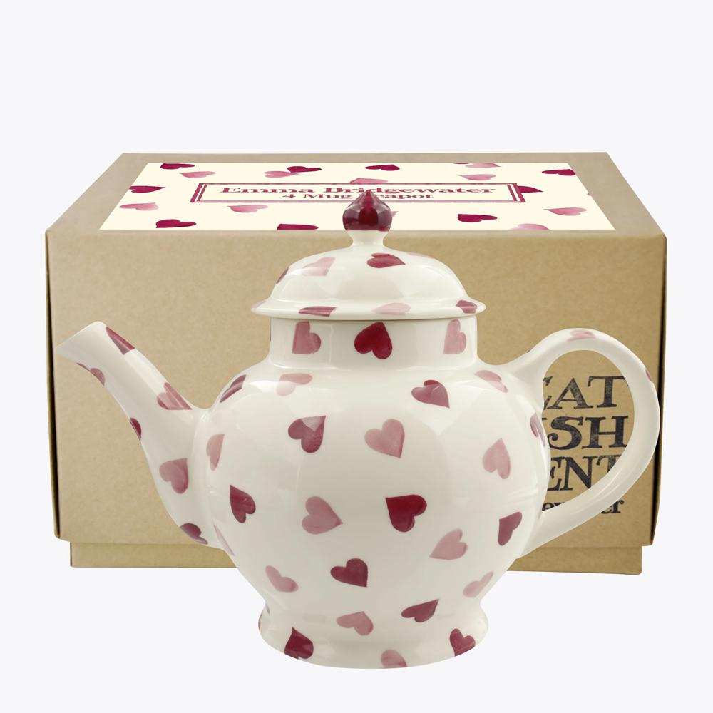 Emma Bridgewater Pink Hearts 4 Mug Teapot Boxed